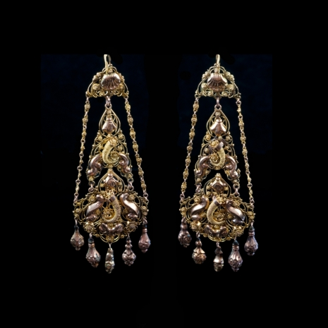 Antique earrings, cornucopia and shell motif