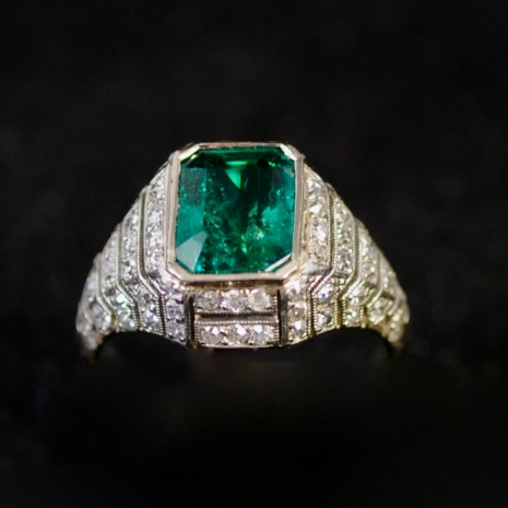 Emerald Diamond Art Deco Ring