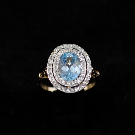 Aquamarine Edwardian Ring
