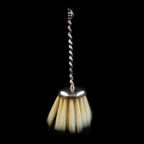 antique silver miniature broom