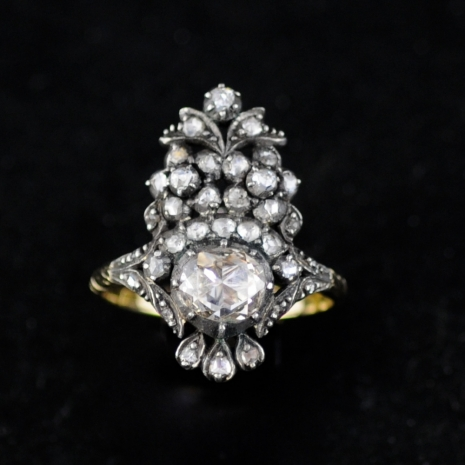 Diamond Flower basket Ring