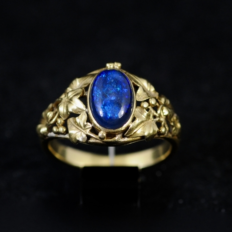 Black Opal Ring Art Nouveau