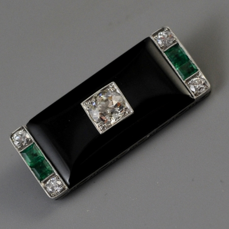 Art Deco Onyx Brooch